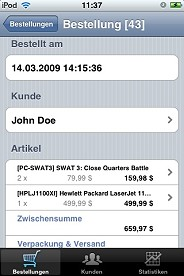 Shopsoftware Schnittstelle iPhone